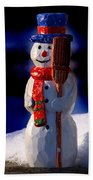 Snowman By George Wood Beach Towel