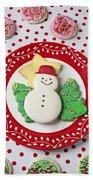 Snowman Cookie Plate Beach Towel