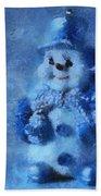 Snowman Merry Christmas Photo Art 01 Beach Towel
