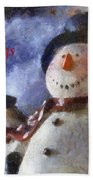 Snowman Season Greetings Photo Art 01 Beach Towel