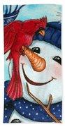 Snowman W/ Cardinal Visitor Beach Sheet