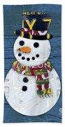 Snowman Winter Fun License Plate Art Beach Towel