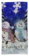Snowmen Enjoy The Beauty Photo Art Beach Towel