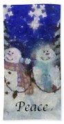 Snowmen Peace Photo Art Beach Towel
