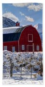 Snowy Barn In The Mountains - Utah Beach Towel