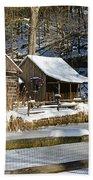 Snowy Cabins Beach Towel
