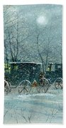 Snowy Carriages Beach Towel