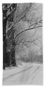 Snowy Country Road - Black And White Beach Towel