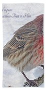 Snowy Day Housefinch With Verse  Beach Towel