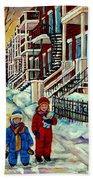 Snowy Day Rue Fabre Le Plateau Montreal Art Winter City Scenes Paintings Carole Spandau Beach Towel