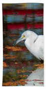 Snowy Egret Stalking His Lunch Beach Towel