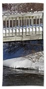 Snowy Foot Bridge Beach Towel