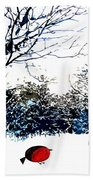 Snowy Forest At Christmas Time Beach Towel