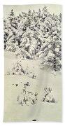 Snowy Forest Vintage Beach Towel