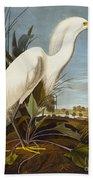 Snowy Heron Or White Egret Beach Towel