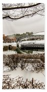 Snowy Landscape At Symphony Park Charlotte North Carolina Beach Towel