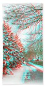 Snowy Lane - Use Red/cyan Filtered 3d Glasses Beach Towel