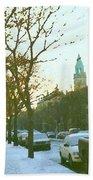 Snowy Montreal Winters City Scene Paintings Verdun Memories Church Across The Street Beach Towel