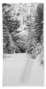Snowy Mountain Road - Black And White Beach Towel