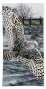 Snowy Owl Wingspan Beach Towel