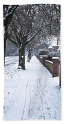 Snowy Path Beach Towel