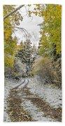 Snowy Road In Fall Beach Towel