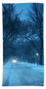 Snowy Road On A Winter Evening Beach Towel