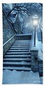 Snowy Stairway Beach Towel