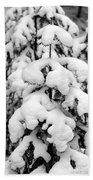Snowy Tree - Black And White Beach Towel