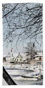 Snowy View Of Boathouserow Beach Towel