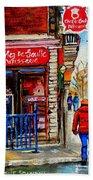 Snowy Walk By The Tea Room And Pastry Shop Winter Street Montreal Art Carole Spandau  Beach Sheet