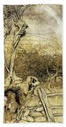 So Nobody Can Quite Explain Exactly Where The Rainbows End Beach Towel by Arthur Rackham