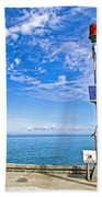 Solar-powered Light In Halls Harbour In Nova Scotia-canada Beach Towel