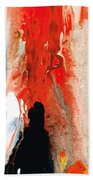 Solitary Man - Red And Black Abstract Art Beach Sheet