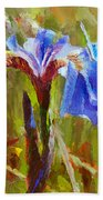 Alaskan Wild Iris And Blue Butterfly Flower Painting Beach Towel