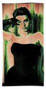 Sophia Loren - Green Pop Art Beach Towel by Absinthe Art By Michelle LeAnn Scott