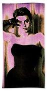 Sophia Loren - Purple Pop Art Beach Towel by Absinthe Art By Michelle LeAnn Scott