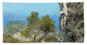 Sorrento Peninsula From Mt Solaro Capri  Beach Towel