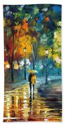 Soul Of The Rain - Palette Knife Oil Painting On Canvas By Leonid Afremov Beach Towel