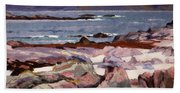 Sound Of Iona  The Burg From The North Shore Beach Towel