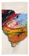South Carolina Map Art - Painted Map Of South Carolina Beach Towel