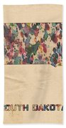 South Dakota Map Vintage Watercolor Beach Towel