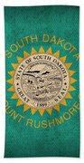 South Dakota State Flag Art On Worn Canvas Beach Towel