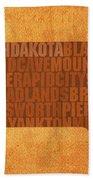 South Dakota Word Art State Map On Canvas Beach Towel