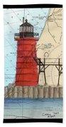 South Haven Lighthouse Mi Nautical Chart Map Art Cathy Peek Beach Towel