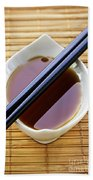 Soy Sauce With Chopsticks Beach Towel by Elena Elisseeva
