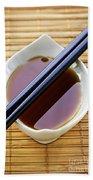 Soy Sauce With Chopsticks Beach Towel by Elena Elisseeva