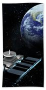 Space Exploration, Earth, Illustration Beach Towel