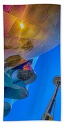 Space Needle And Emp In Perspective Hdr Beach Towel