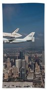 Space Shuttle Endeavour Over Houston Texas Beach Towel